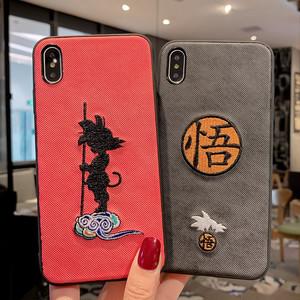【小物】日系刺繡iPhoneX/Xr/8plus/XsMax/6s子供時代の思い出孫悟空スマホケース