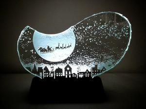 クリスマスのガラスエッチングパネル Mサイズ・オリジナルLEDスタンドセット