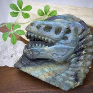 【宝石彫刻】ラブラドライト・恐竜の化石