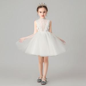 8400子供ドレス キッズドレス フォーマルドレス ジュニア 女の子ドレス  発表会 コンクール ピアノ 演出服 ミニ丈 白色ホワイト90-160cm