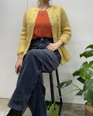 1960s MADE IN ITALY Thalhimers mohair mix knit cardigan lemon yellow【S位】