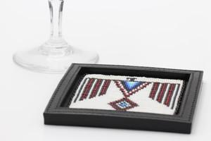 004 / 角形ビーズ刺繍コースター
