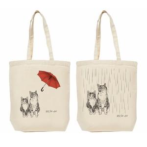 """エコバッグ / """"Cats in the rain"""" 猫の絵、イラスト猫雑貨"""