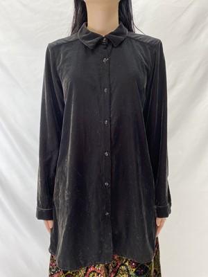 velours shirt dark brown【0281】