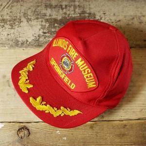 USA キャップ 帽子 ILLINOIS FIRE MUSEUM ワッペン 刺繍 レッド 赤 フリーサイズ 古着051320ss146