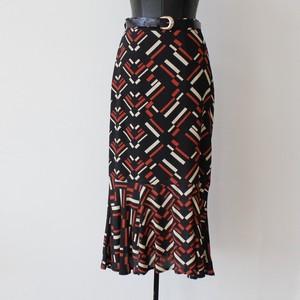 twister ベルト付レトロ柄裾フレアースカート:TWT3002I ¥24,000+tax