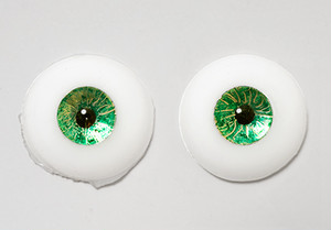 Silicone eye - 17mm Metallic Emerald Gold with Smaller Iris for 15mm