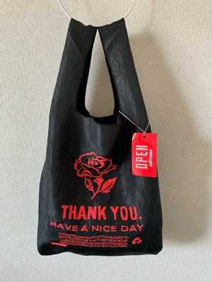 【OPEN EDITIONS / 送料無料】THANK YOU TOTE エコバッグ/ ROSE Black