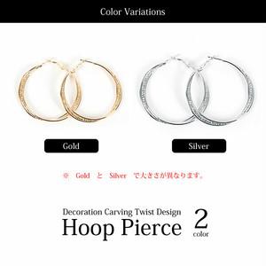 【ピアス】全2色!!飾り彫りデザインメタルツイストフープピアスイヤリング