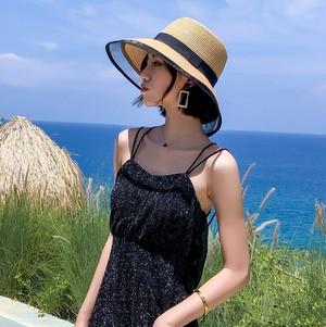 【ハット】楽な着用感日焼け止めリボン草編みスウィートハット22181424