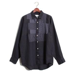 Enharmonic TAVERN Patchwork Shirt -Navy <LSD-AH1S3>