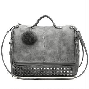 Rivet Tote Bag Leather Handbag Capacity Shoulder Bag Vintage Bag ショルダーバッグ トートバッグ レザー ハンドバッグ ビンテージ (HF99-5789017)