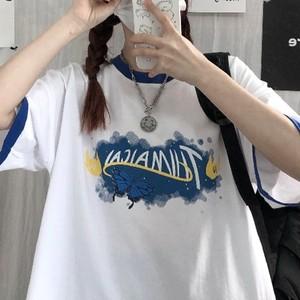 【トップス】カジュアルプリントアルファベットゆるリラックス切り替えTシャツ43754557
