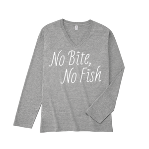 NO BITE, NO FISH V-neck Long T : Gray