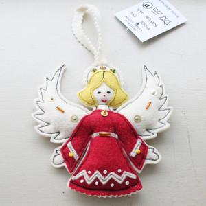 天使オーナメント / Red /149a/ HUNGARY ハンガリー