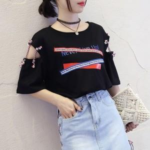 【tops】Tシャツプリントファッションラウンドネック透かし彫り半袖