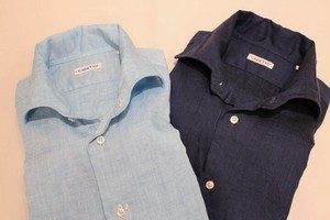 CADETTO ORIGINALS SHIRTS Herdmans Linen Saxe-blue&Navy