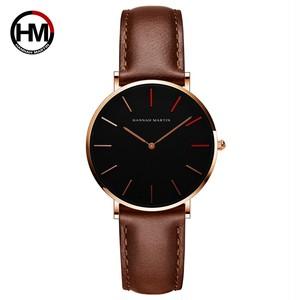 女性の時計クリエイティブトップブランド日本クォーツムーブメント時計ファッションシンプルな因果レザーストラップ女性の防水腕時計1230-HR36-FK