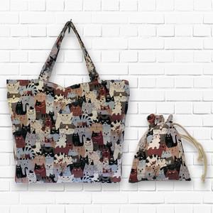 【1点もの】トートバッグ 巾着袋付き(レトロ猫柄) 抗ウイルス加工 フルテクト 生地 使用