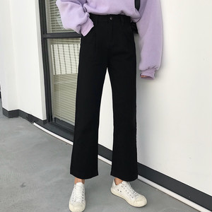 【bottoms】合わせやすいハイウエストファッション無地パンツ