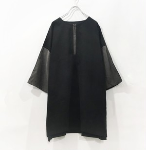 【3rd 予約 7月 下旬 予約分】keisukeyoneda half zip-up bi-color tee  Black