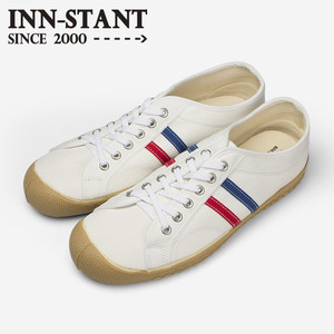 #103 CANVAS SHOES white/red-blue (gum sole) INN-STANT インスタント 【消費税込・送料無料】