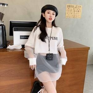 【トップス】韓国系長袖ラウンドネックプルオーバーTシャツ44393650