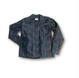 1 大島紬リメイク メンズ長袖シャツ(赤×黒・M)