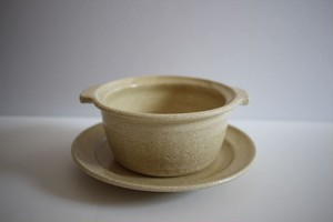 古谷浩一|灰粉引 耐熱グラタン皿とソーサー