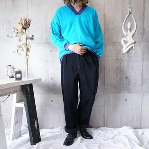 【RalphLauren】wide wale black navy 2tuck corduroy pants
