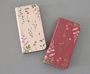 ピンクの花たちのiPhoneケース手帳型