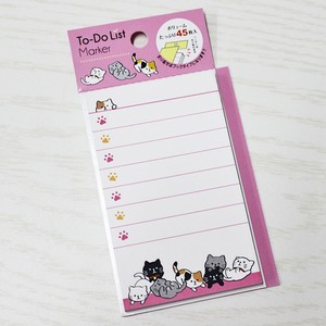 【To-Do リストマーカー】猫柄やりことリストメモ【付箋紙 メモ帳 猫雑貨 ネコ キュート】