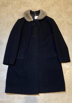 古着 Pamar ファー付き ブラック コート