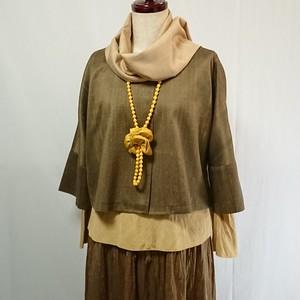 草木染手織りシルク 八分袖のショートジャケット