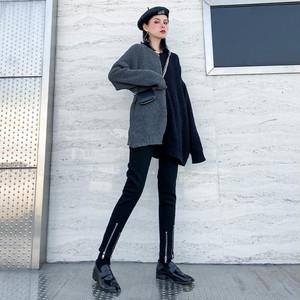 ゴスロリ系 レギンス ハイウエスト スリムフィット 黒 ダブルZIPアップ 脚長 細見せ 病み可愛い ストリート系 原宿系 10代 20代