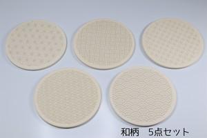 美濃焼 珪藻土 彫刻 吸水コースター 和柄  5枚セット 日本製 レーザー彫刻