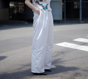 Ladies' / flare wide PANTS with ribbon