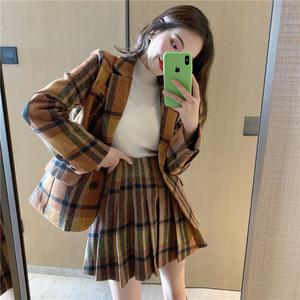 レトロチェックジャケット+プリーツスカートセット