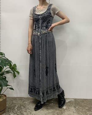 1990s THE ONLY MADE lN INDIA sleeveless embroidery design maxi one-piece 【M】