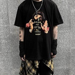 【トップス】ペアルック薔薇図柄ストリート系Tシャツ29696911