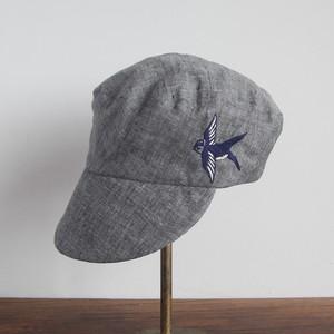 ツバメ刺繍の定番キャスケット グレーシャンブレーに濃紺のつばめ NO.902