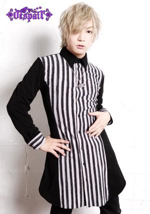 【despair×Kaya】アンティークストライプ切り替えロングシャツ(パープル)