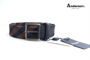 アンダーソンズ|Anderson's|エラスティックメッシュベルト|ネイビー|M