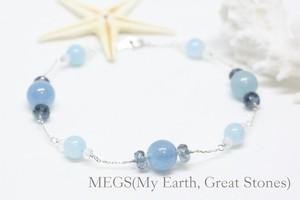 【3月誕生石】Marine Blue『海の蒼さに魅せられて... 』ブレスレット【10K 刻印入 アクアマリン】