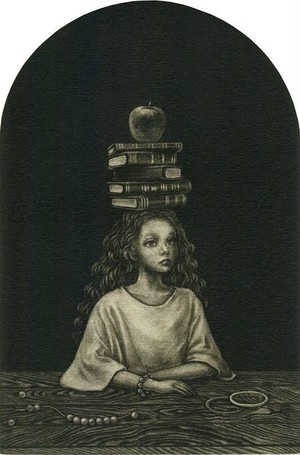 山城有未「屋根裏のメランコリア」 銅版画 メゾチント 額付き(32×26cm)