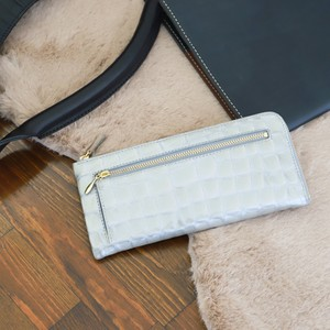 【NANIWAYA】エナメルクロコ・L型長財布(シルバー)