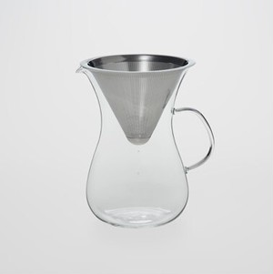 TG glass (ティージーガラス) Pour Over Coffee Percolator & Stainless Steel Filter (コーヒードリップサーバー 耐熱ガラス) 680ml