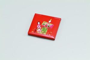 34-0401 角コンパクトミラー 朱 紙人形