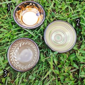 4寸まんじゅう/染め付け、線彫り、象嵌巻唐草