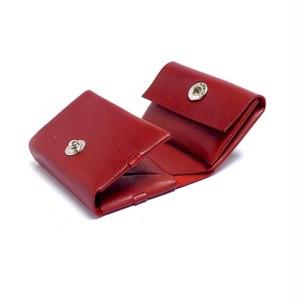 コンパクト三つ折り財布 レッド/イタリアンカーフ